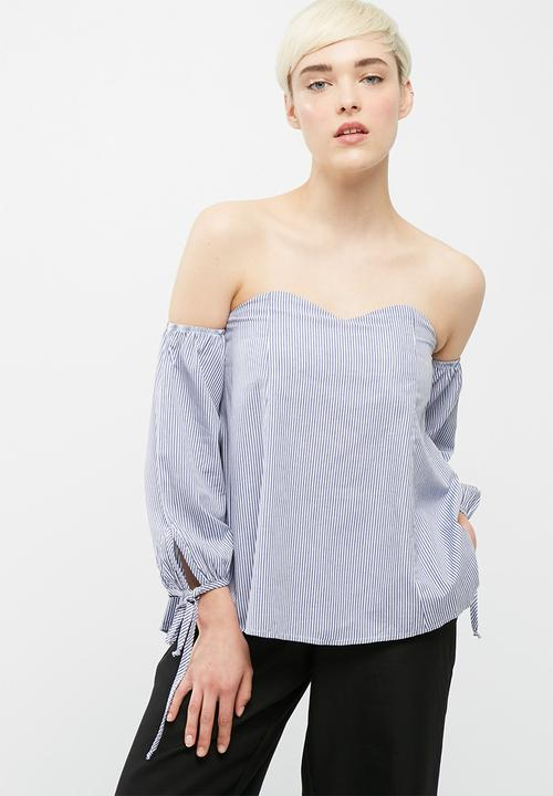 3493a9a85b808 Sweetheart off shoulder top - light blue and white stripe ...