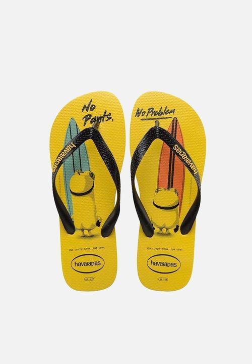 56e8f4f33b0bc7 Minions - Citrus Yellow Black Havaianas Sandals   Flip Flops ...