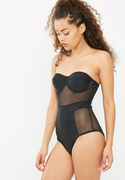 7d86499ed098d6 Balconette mesh swimsuit - black South Beach Swimwear | Superbalist.com