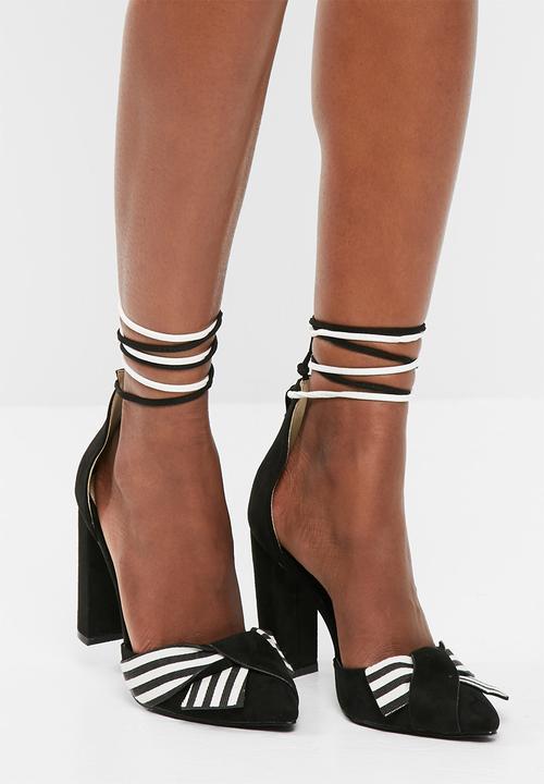 39c58dd0ed9 Striped wrap around block heel sandals - black Missguided Heels ...
