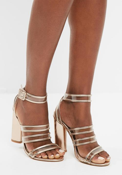 2d4c453961a Clear multi strap block heeled sandals - rose gold Missguided Heels ...