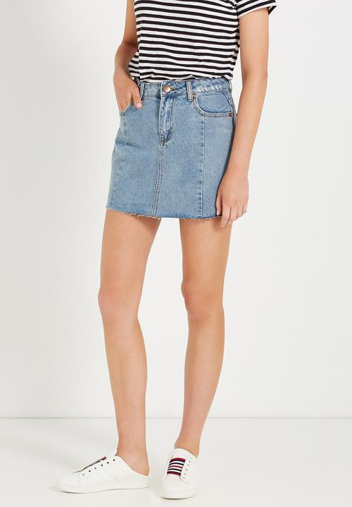 01583a431 A line mini panelled denim skirt - distressed blue Cotton On Skirts ...
