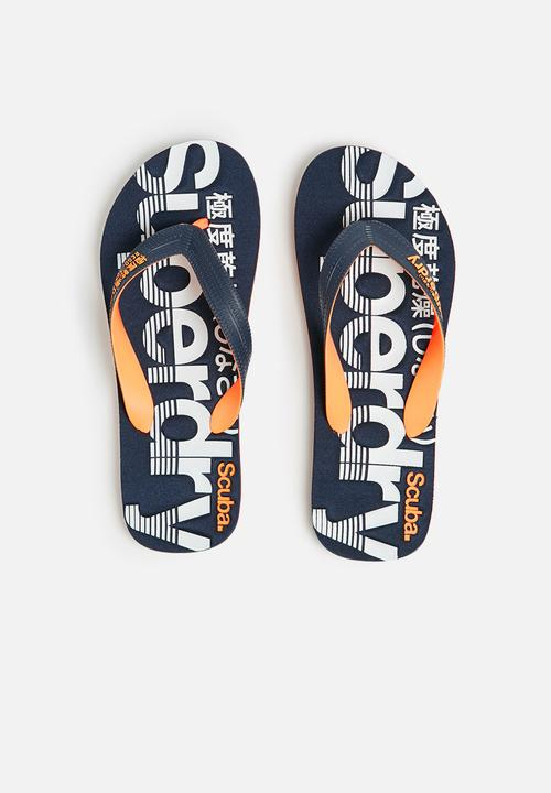 01e1153fbb4bd0 Scuba flip flop - dark navy   fluro orange Superdry. Sandals   Flip ...