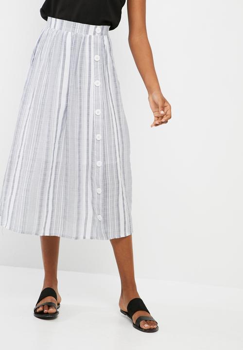 stripe button through midi skirt blue and white stripe
