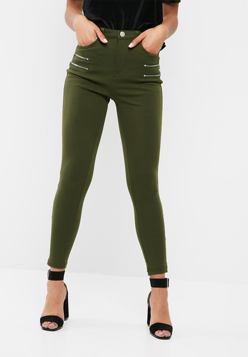 Double Zip Detail Ponte Leggings by Missguided