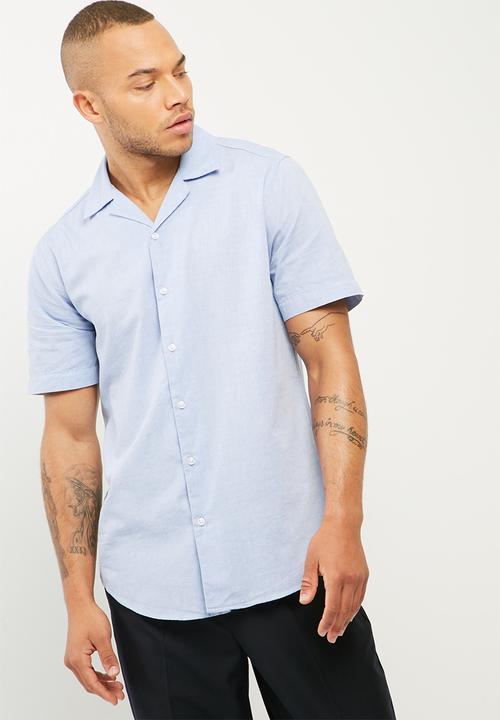 9867211f Regular fit s/s cuban shirt pale blue basicthread Shirts ...