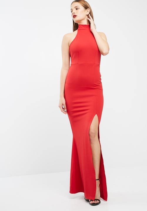 42f87ecdc09 Choker maxi dress - red Missguided Occasion