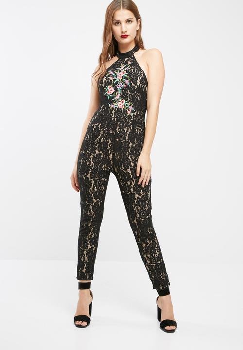 f39bd922c99 High neck halterneck embroidered lace jumpsuit - black Missguided ...