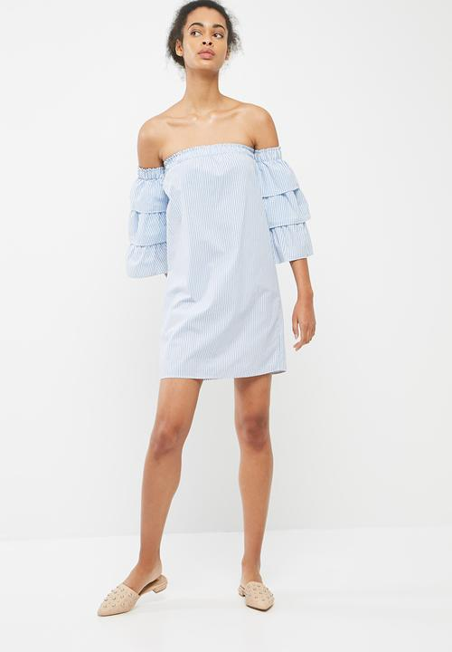 90ae917997e5 Tiered sleeve off the shoulder dress - blue   white stripe ...