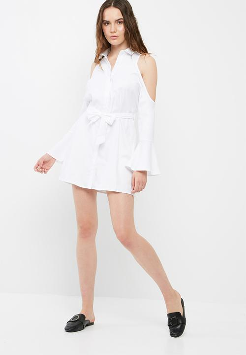 a3e44b498b121 Soft touch cold shoulder tie shirt dress - white Missguided Formal ...