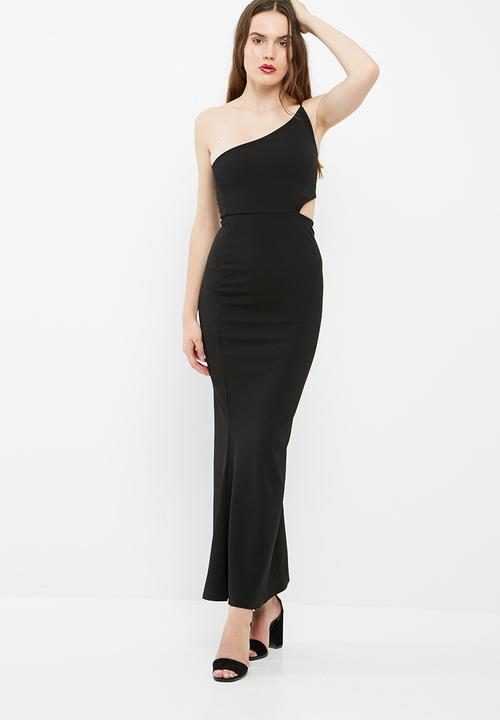 36afc33ad6 Cut out waist one shoulder maxi dress - black Missguided Occasion ...