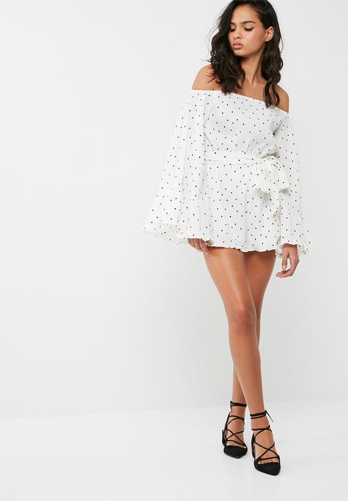 aac4322244 Polka dot crinkle bardot playsuit - white Missguided Jumpsuits ...