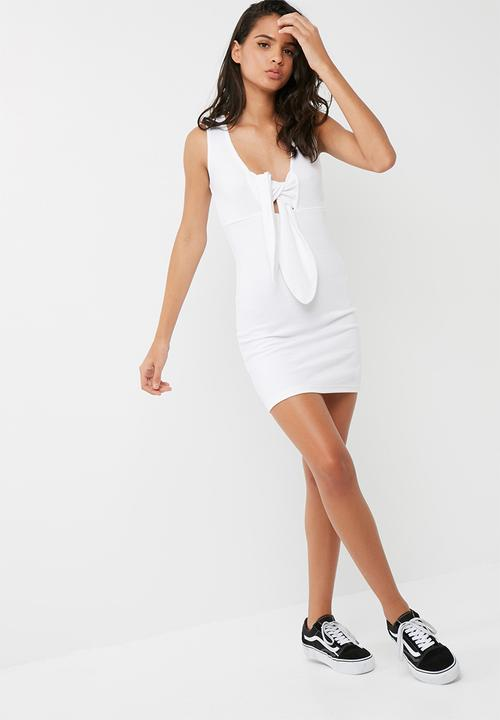 5b549f347ed5 Ribbed sleeveless bodycon dress - white Missguided Casual ...
