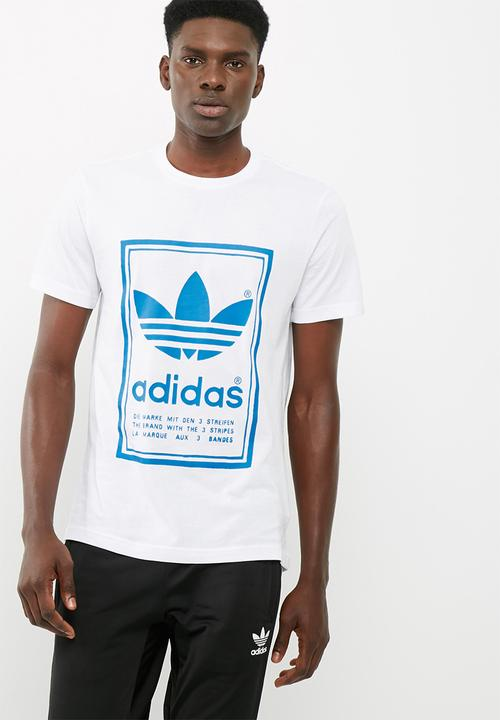 9a109a06574b9 Mens Japanese Vintage- white/ blue adidas Originals T-Shirts ...