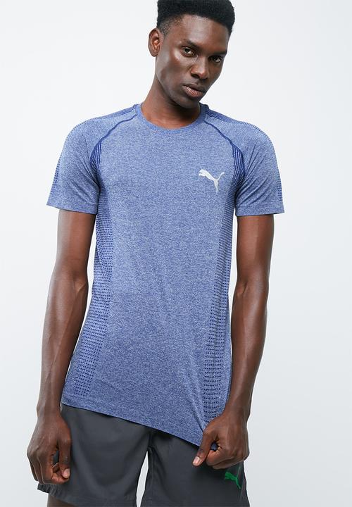 85f4f1d0236 evoKNIT Basic Tee Blue Depths Heather PUMA T-Shirts | Superbalist.com