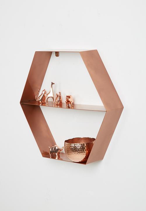 Metal Hexagon Shelf Copper Sixth Floor Shelves Racks