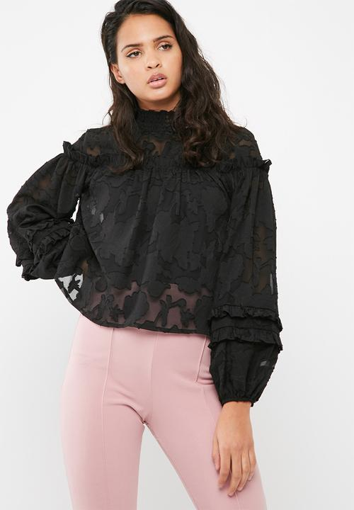 aec7d792126455 Missguided - Sheer mesh floral high neck gathered long sleeve top