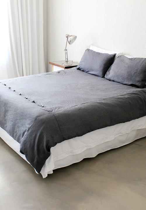 Trousseau Linen   Grey French Linen Duvet Cover U2013 Double