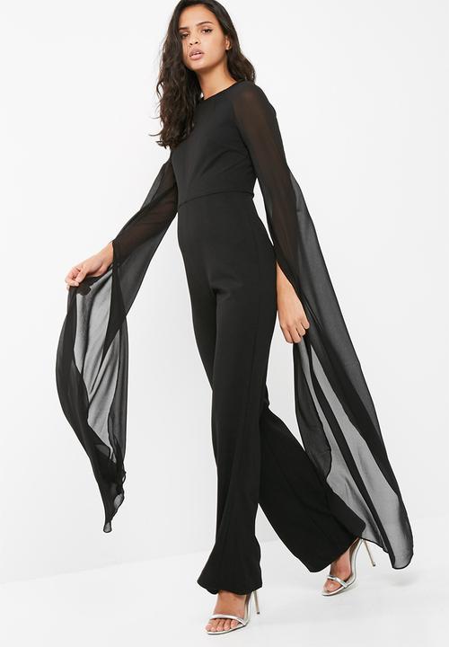 6f09d66cc8ed Wide leg long sleeve jumpsuit - black Missguided Jumpsuits ...