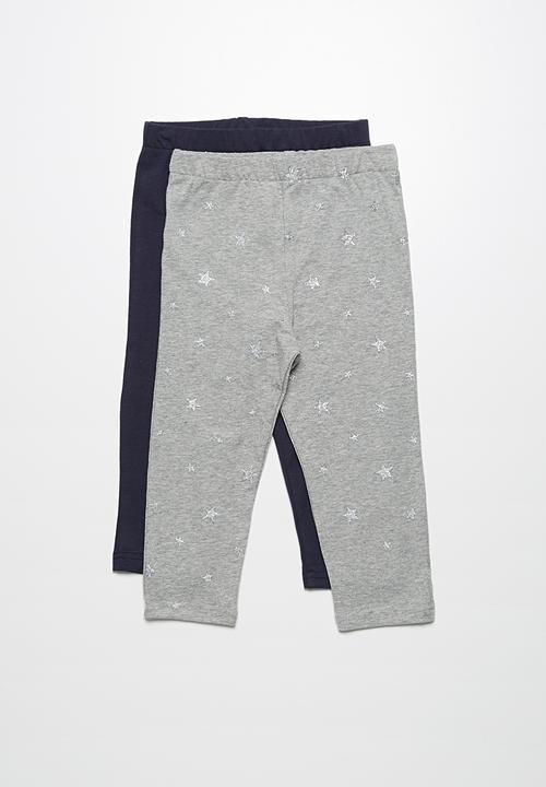 0b20f9610c131 2-Pack capri leggings - Light grey melange with glitter stars and ...