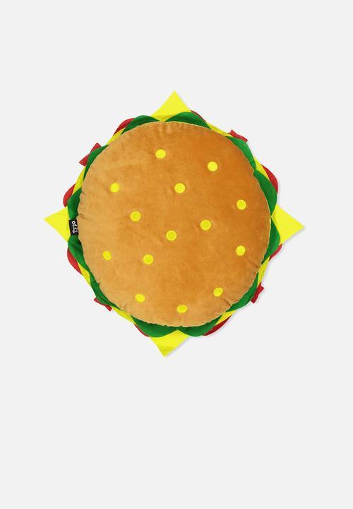 Get Cushy Cushion Hamburger Typo Scatter Cushions Blankets - Hamburger-scatter-cushions