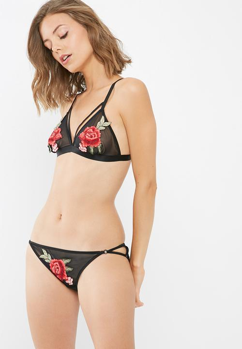 Dailyfriday Miranda Rose Embroidery Mesh Brief Panties Black