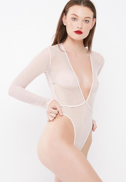 Missguided Fishnet Plunge Bodysuit Bras Pink