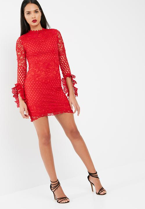 High Neck Crochet Long Sleeve Mini Dress Red Missguided Occasion