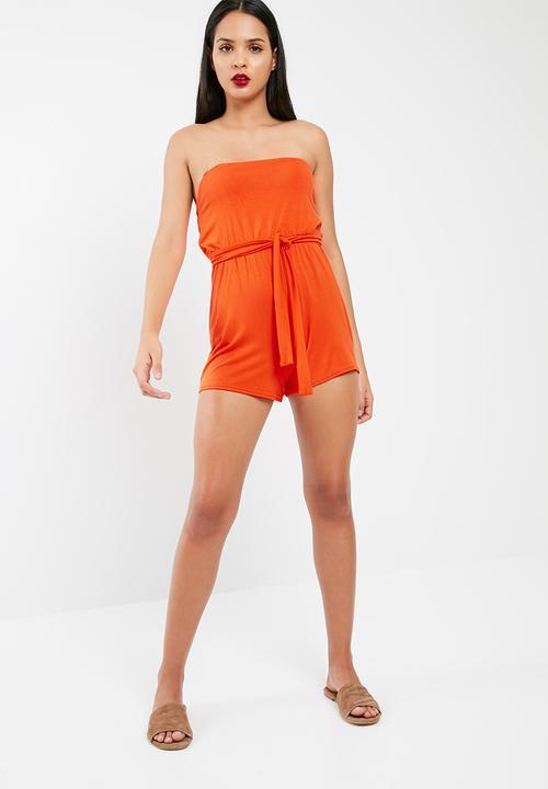 b79a10c702b7 Jersey bandeau playsuit - Orange Missguided Jumpsuits   Playsuits ...