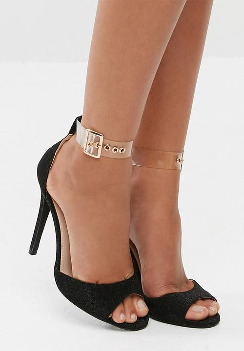 afb692fcce Perspex strap shimmer barely there - black Missguided Heels ...