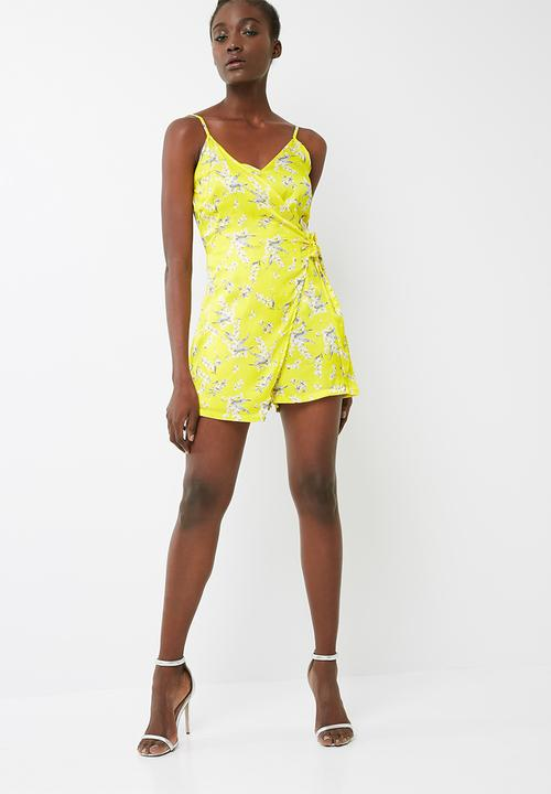 4920f0d6a43 Cami wrap floral playsuit - yellow black Missguided Jumpsuits ...
