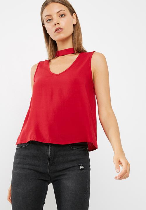 790bc1bca8d05f Sleeveless choker blouse - poppy red dailyfriday Blouses ...