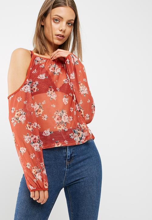 f54c944b564 Esme printed mesh cold shoulder blouse - mid brown New Look Blouses ...