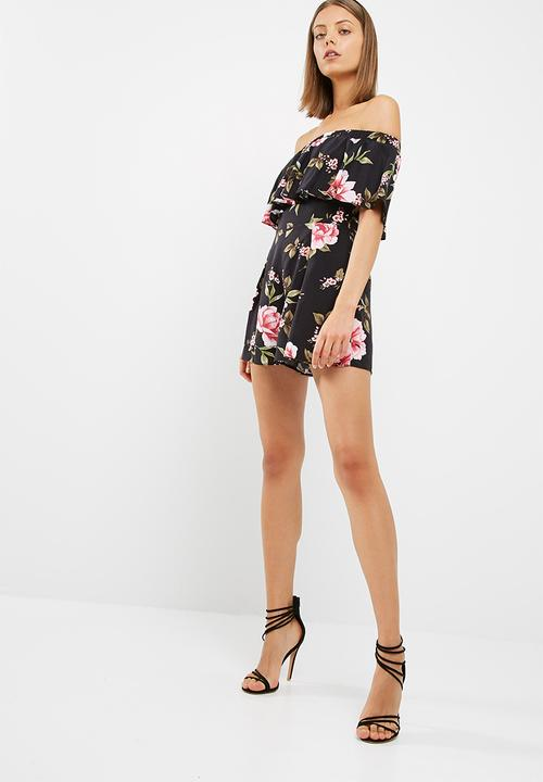 23087345d63 Frida floral frill bardot playsuit - black print New Look Jumpsuits ...
