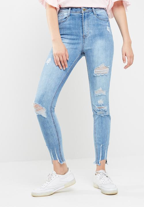 4ca312eeb4c Sinner high waisted authentic ripped skinny jeans - blue Missguided ...