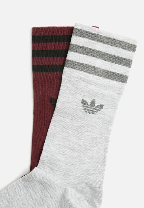 ca9392ea9 2 pack unisex crew socks- burgundy/grey adidas Originals Socks ...