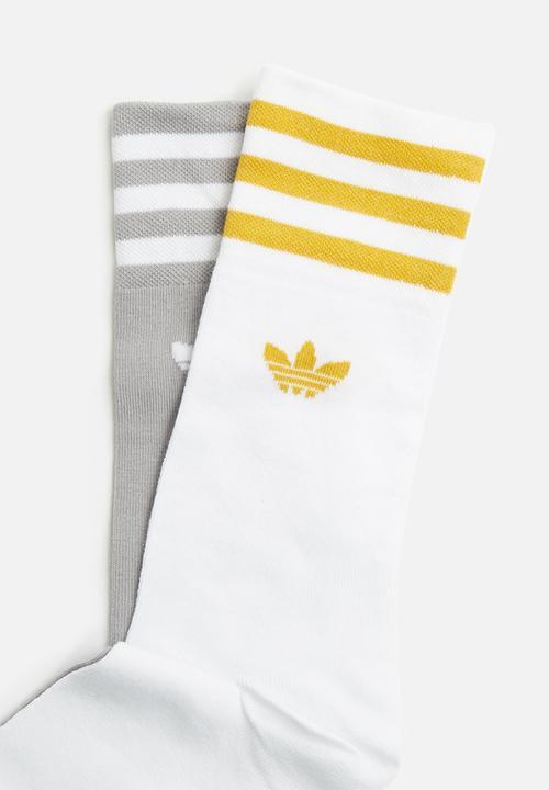 Unisex Solid Crew Sock Stripe 2 Pack White Grey Adidas Originals