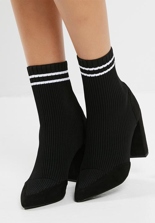 e8e49b3969e2 Knitted stripe pointed ankle boot - Black Missguided Boots ...