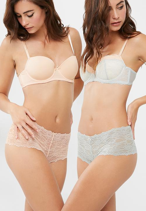 Dorina Layla 2 Pack Hipster Panties Pink & Grey