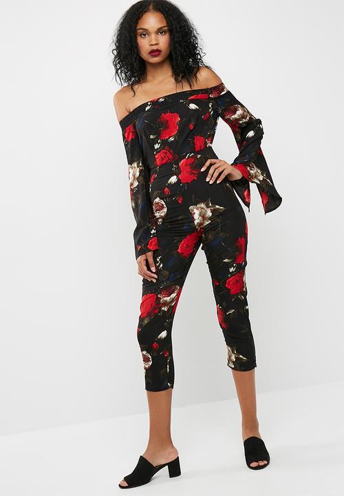 7b4d196d80c Printed bardot split sleeve jumpsuit - Black Missguided Jumpsuits ...
