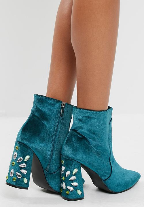 2a497b639 Reverend velvet gem heel detail ankle boot - deep green velvet ...