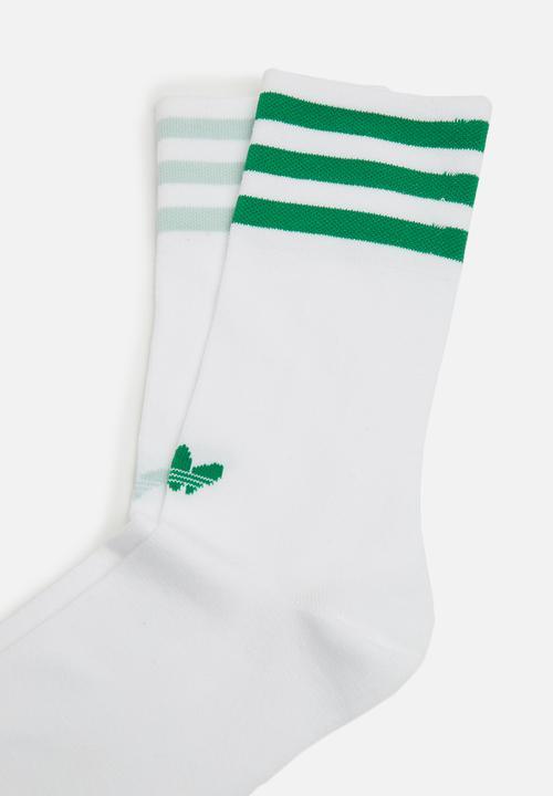 Unisex solid crew socks- white/ashgrn