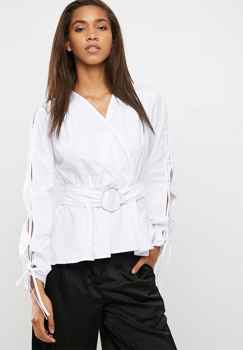 5cef62e9db9fa2 Poplin blouse with ring detail - white dailyfriday Blouses ...