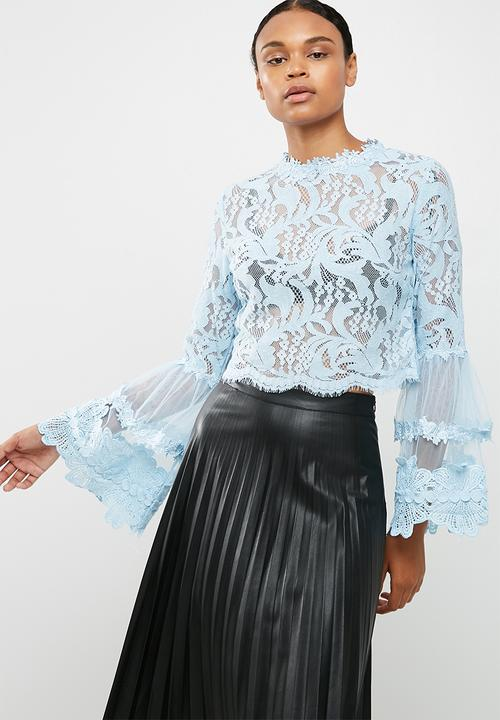 993c4ff5711f09 Lace and mesh long sleeve top - baby blue Missguided Blouses ...