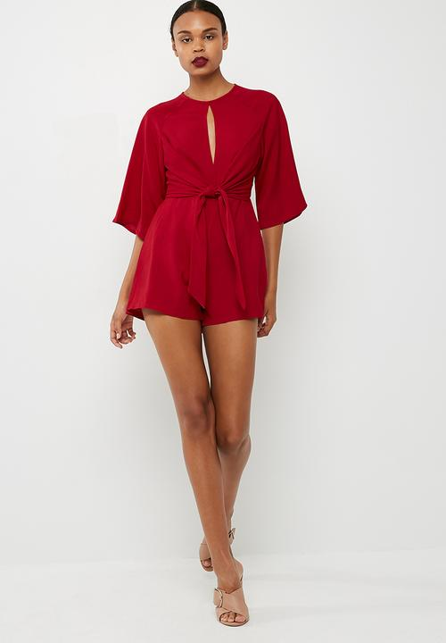 2e4ad19356 Round neck tie front playsuit - Deep red Missguided Jumpsuits ...