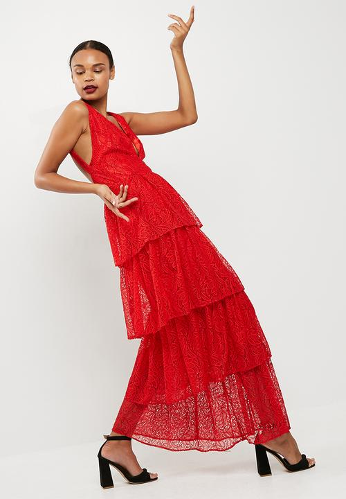 ae518491ad2 Lace tiered frill maxi dress - red Missguided Occasion
