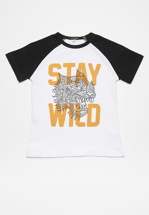 844c3d6d Kids stay wild raglan tee - Black Sleeves with White Body ...