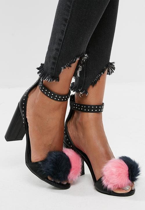 b9af1f93206 Pom pom block heels sandal - Black Missguided Heels