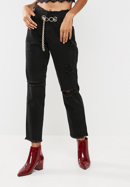 b1306bcbdca Wrath chain belted straight leg jeans - Black Missguided Jeans ...