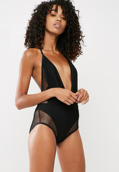 0c847ab404e4a Fishnet plunge swimsuit - Black Missguided One Piece